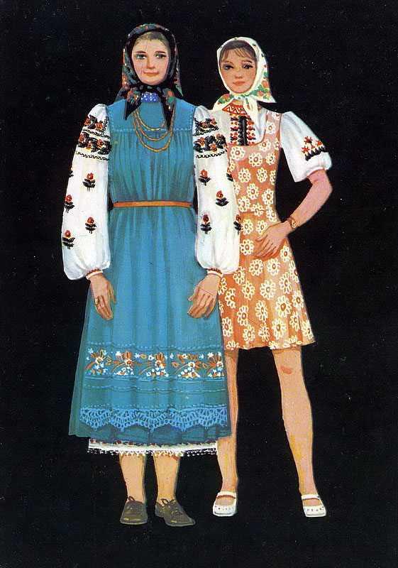d861eb65e00c07 Костюм для жінки складається їх бавовняної вишиванки, виконаної в місцевих  традиціях, і вовняного плаття без рукавів, що імітує спідницю з безрукавкою.